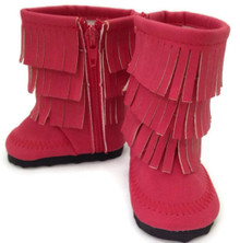 Fringed Boots-Red