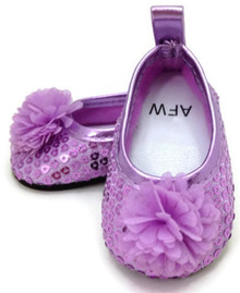 Sequined Flats with Flower-Lavender