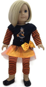 Halloween Top with Witch & Striped Leggings