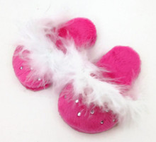 Mule Slippers with Rhinestones-Hot Pink