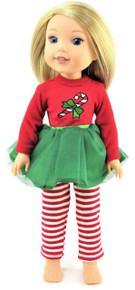 Candy Cane Tutu Dress & Striped Leggings for Wellie Wishers Dolls