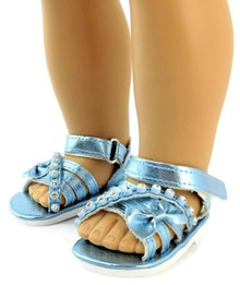 Metallic Sandals with Bow & Rhinestones-Blue