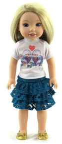 Love Birds Top & Ruffled Skirt  for Wellie Wishers Dolls