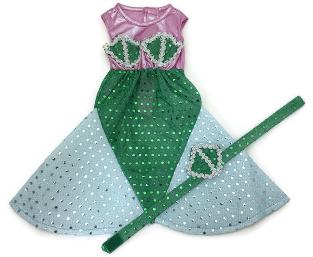 Sparkling Pink Mermaid and Matching Headpiece for 18 inch American Girl Doll Clothes Dori/'s Doll Boutique