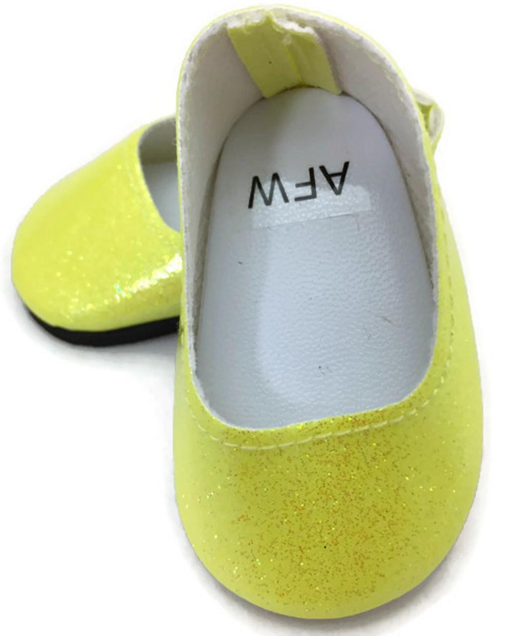 274b555b0eec Glitter Slip On Dress Shoes-Yellow - Dori's Doll Boutique