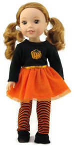 Halloween Pumpkin Tutu Dress & Striped Leggings for Wellie Wishers Dolls