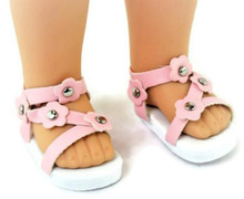 Sandals-Pink for Wellie Wishers Dolls