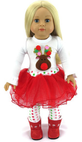White Reindeer Top, Red Tutu, & Polka Dot Leggings