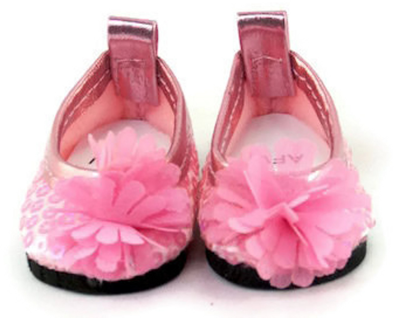 5007604b84ca3 Sequined Dress Shoes with Flower-Pink for Wellie Wishers Dolls