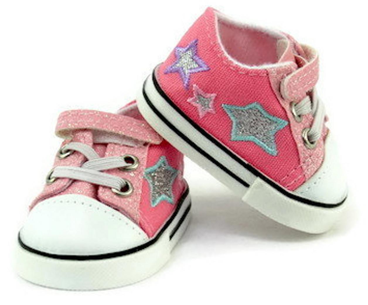 e501a36a3d9f Glitter & Stars Tennis Shoes-Pink - Dori's Doll Boutique
