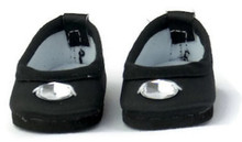 Satin Flats Dress Shoes with Rhinestone-Black for Wellie Wishers Dolls