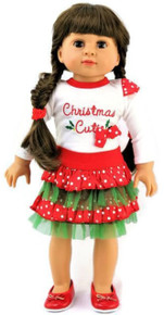 Christmas Cutie Top &  Red and Green Ruffled Skirt