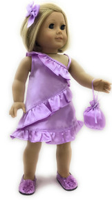 Lavender Satin Party Dress, Hair Barrette, & Purse