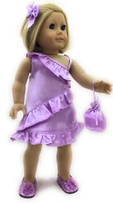 Lavender Satin Party Dress, Hair Barrette, & Purse
