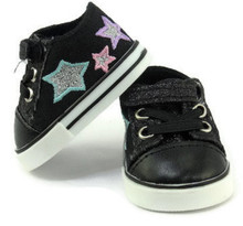 Glitter & Stars Tennis Shoes-Black