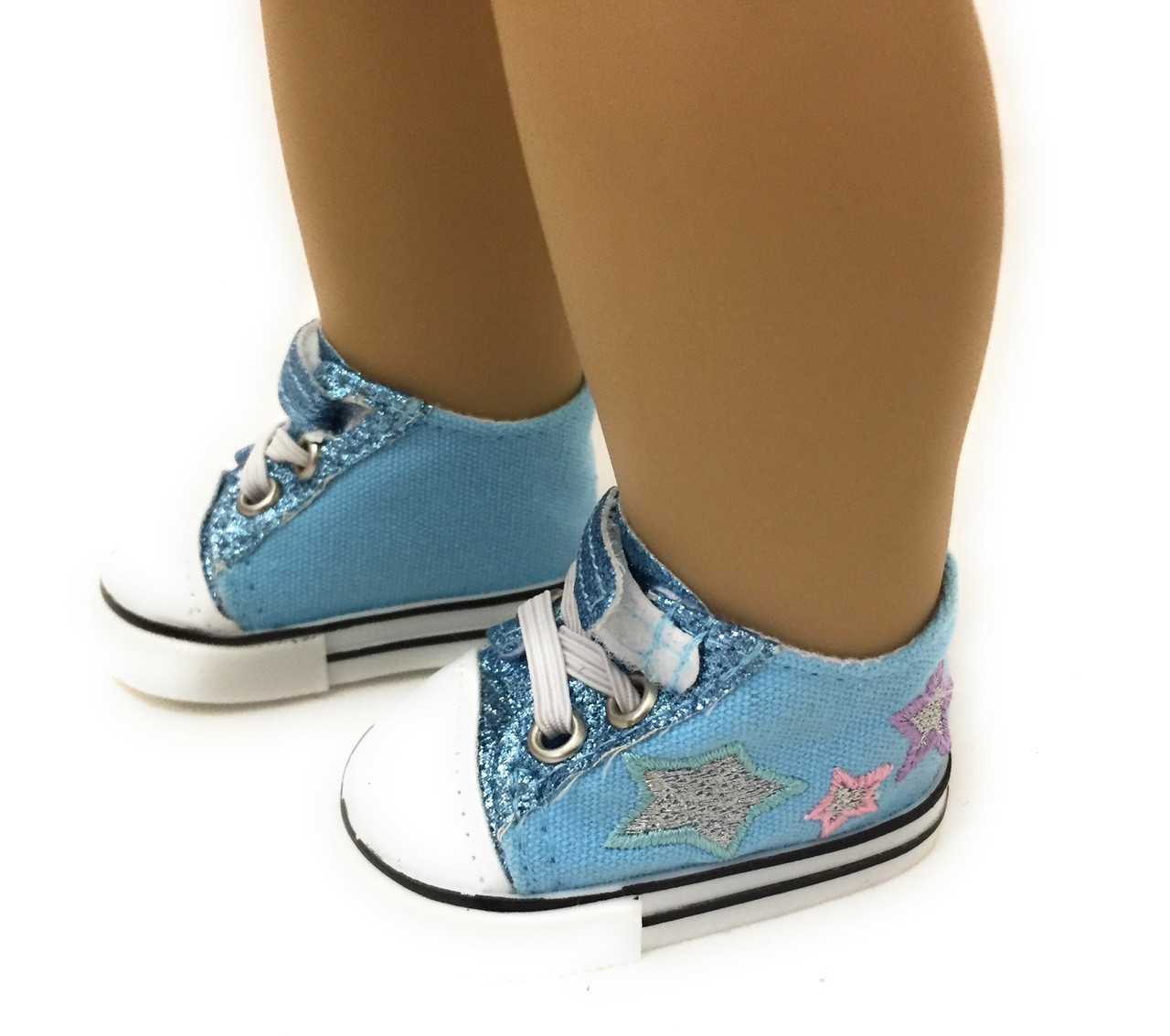 396acf395fcf Glitter & Stars Tennis Shoes-Light Blue - Dori's Doll Boutique