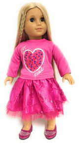 Bright Pink Glitter Heart Valentine Top & Skirt