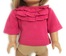 Top with Ruffled Neck-Dark Pink