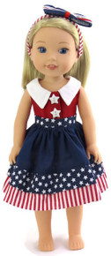 Patriotic Dress & Hairband with Bow for Wellie Wishers Dolls
