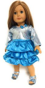 Metallic & Ruffled Dress with Bow-Turquoise