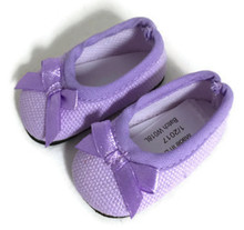 Ballet Flats Shoes with Bow-Lavender for Wellie Wishers Dolls