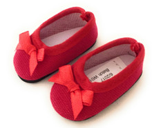 Ballet Flats Shoes with Bow-Red for Wellie Wishers Dolls