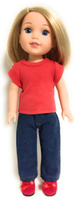 Red Knit Top & Dark Denim Jeans for Wellie Wishers Dolls