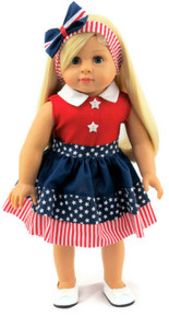 Patriotic Red, White & Blue Dress & Headband with Bow