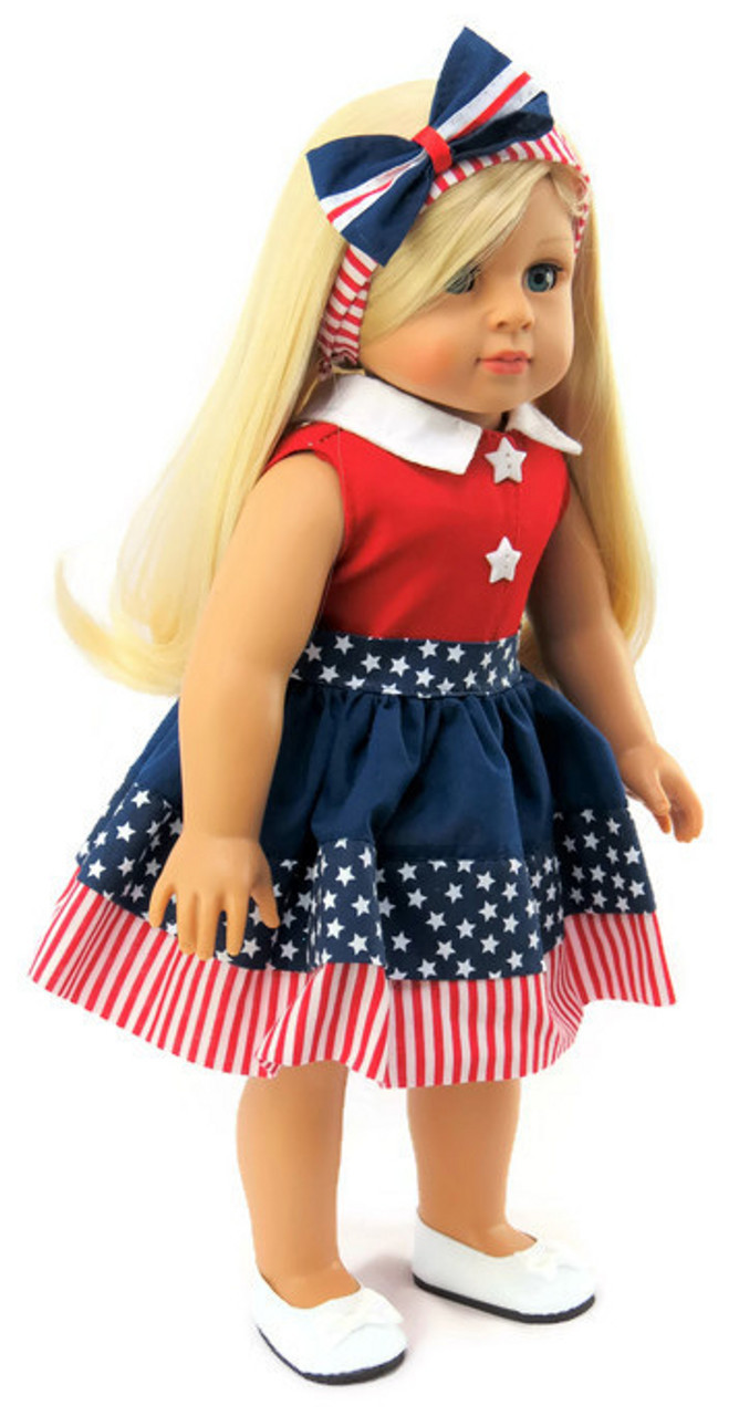 """Patriotic Red White /& Blue Dress /& Headband fits 18/"""" American Girl Doll Clothes"""