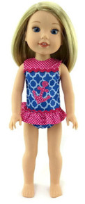 Blue and Pink Anchor Swimsuit for Wellie Wishers Dolls