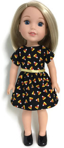 Black Halloween Candy Corn Dress for Wellie Wishers Dolls