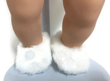 Fuzzy Slippers with Pom Poms-White
