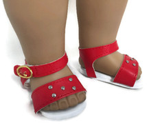 Red Sandals with Silver Studs