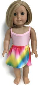 Pink Leotard & Rainbow Wrap Around Skirt