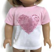 Pink & White Short Sleeved Knit Top with Sequined Heart