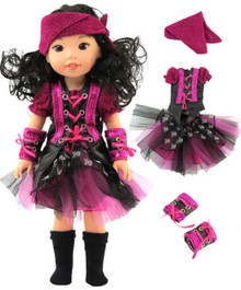4 pc Pink and Black Pirate Set for Wellie Wishers Dolls