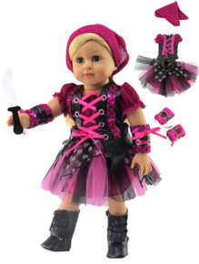 Pink & Black Punk Rock Pirate Set Halloween