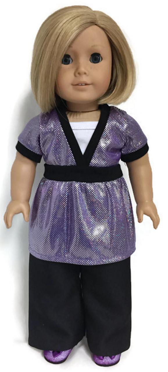 150e3f35401 Purple Metallic Top   Black Dress Pants - Dori s Doll Boutique