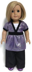 Purple Metallic Top & Black Dress Pants