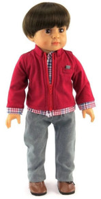 Plaid Shirt with attached Dark Red Jacket & Gray Pants