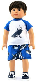 Boy Shark Rash Guard Shirt & Swim Trunks