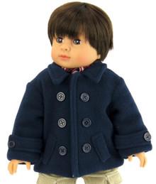 Navy Fleece Coat with Buttons