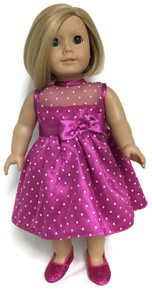 Fuchsia with White Polka Dots Satin and Tulle Dress