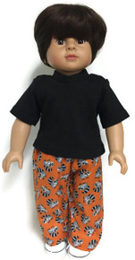 Black Short Sleeved Top & Raccoon Print Pants