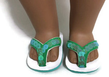 Sequined Flip Flop Sandals-Green