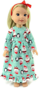 Christmas Santa Flannel Nightgown  & Hair Ribbon for Wellie Wishers Dolls
