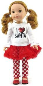 I Love Santa Top & Tutu Polka Dot Leggings for Wellie Wishers Dolls