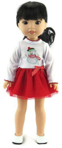 Christmas Snowman Dress for Wellie Wishers Dolls