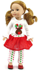 3 pc Christmas Reindeer Tutu Set for Wellie Wishers Dolls
