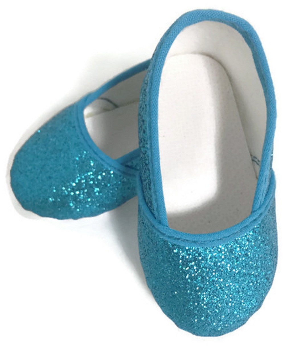 93bc35138ae0 Glitter Slip On Shoes-Turquoise - Dori's Doll Boutique